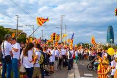 Diada di Catalunya, a Barcellona, la Spagna l'11 settembre 2015 Immagine Stock