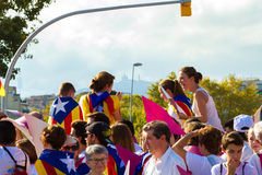 Diada di Catalunya, a Barcellona, la Spagna l'11 settembre 2015 Immagini Stock