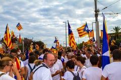 Diada di Catalunya, a Barcellona, la Spagna l'11 settembre 2015 Immagini Stock Libere da Diritti