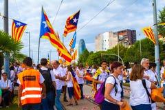 Diada di Catalunya, a Barcellona, la Spagna l'11 settembre 2015 Immagine Stock Libera da Diritti