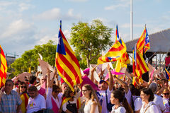 Diada von Catalunya, in Barcelona, Spanien am 11. September 2015 Lizenzfreies Stockbild