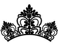 E diadem Красивая элегантная роскошная женственная тиара с отражением изолированным на черной предпосылке r иллюстрация вектора