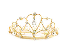 Diadem. Gold diadem with the precious stones and the pearls Stock Photography
