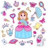 Установите с милой маленькой принцессой с diadem Стоковые Изображения