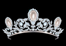 Diadem with diamonds and pearls Royalty Free Stock Image