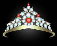 Diadem. With diamonds and rubies on white background royalty free illustration