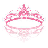 Diadem. elegance feminine tiara with reflection. In pink colour on white background. vector illustration vector illustration