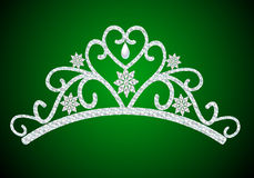 Diadem feminine wedding with pearl on green. Illustration diadem feminine wedding with pearl on green Stock Images