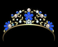 Diadem. Gold diadem with a floral design of diamonds, sapphires and pearls royalty free illustration