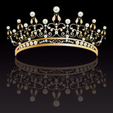 Diadem. Luxury gold with pearls feminine tiara with reflection Stock Photos