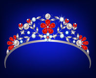 Diadem. Silver diadem with a floral design of diamonds, rubies and pearls vector illustration