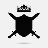 Diadem vector illustration with shield. Swords and crown silhouette stock illustration