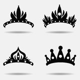 Diadem vector illustration silhouette set. Set of four. Stock Photos
