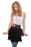 Diadema da portare felice e tutu della giovane donna Fotografia Stock