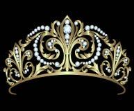 Diadema del oro con los diamantes Fotos de archivo