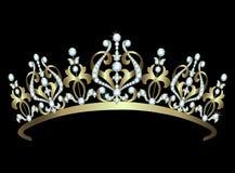 Diadema dell'oro con i diamanti Immagine Stock Libera da Diritti