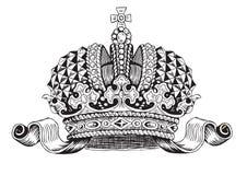 Diadema di Monarhy in bianco e nero Immagine Stock