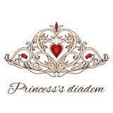 Diadema disegnato a mano di principessa Parte superiore della regina Fotografie Stock
