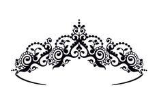 Diadema preto da princesa em um fundo do wight A coroa Ilustração do vetor ilustração royalty free