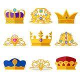 Diademas de la princesa y coronas de oro de reyes y de reinas Aislante determinado del vector en blanco libre illustration