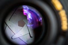 Diafragma de una abertura de lente de cámara Fotografía de archivo libre de regalías