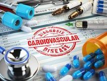 Diagnóstico da doença cardiovascular Selo, estetoscópio, seringa, b ilustração royalty free