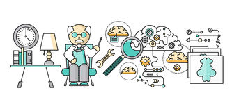 Diagnóstico de Brain Psychology Flat Design ilustração do vetor