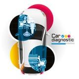 Diagnóstico del coche de la radiografía ilustración del vector