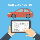 Diagnóstico do carro com tabuleta ilustração do vetor