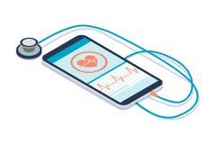 Diagnósticos app de la atención sanitaria ilustración del vector