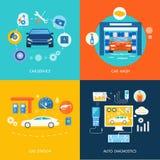 Diagnósticos del auto de la gasolinera del túnel de lavado del servicio del coche Imagen de archivo libre de regalías