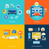 Diagnósticos do automóvel do posto de gasolina da lavagem de carros do serviço do carro Imagem de Stock Royalty Free