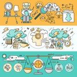 Diagnos av Brain Psychology Flat Design stock illustrationer