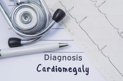 Diagnos av cardiomegaly Stetoskopet, den utskrivavna elektrokardiogrammet och pennan är på pappers- medicinsk form var indikerat  fotografering för bildbyråer