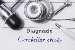 Diagnos av den Cerebellar slaglängden Meddelandet för medicinska doktorer med den Cerebellar slaglängden för diagnosen är på neur arkivbilder