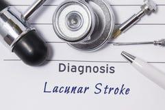 Diagnos av den Lacunar slaglängden Meddelandet för ` s för den medicinska doktorn med den Lacunar slaglängden för diagnosen är på royaltyfri bild