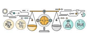 Diagnose van Brain Psychology Flat Design vector illustratie