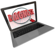 Diagnose Word Computer Laptop Screen Finding Medical Help Online. Diagnose word with magnifying glass on a computer laptop screen to illustrate finding medical Stock Images