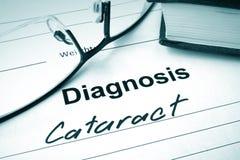 Diagnoselijst met Cataract en glazen royalty-vrije stock afbeeldingen