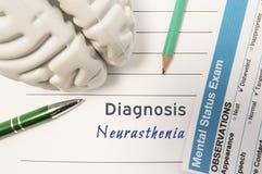 Diagnosen-Neurasthenie Zahl des menschlichen Gehirns, Ergebnis der Geistesstatusprüfung umgab geschriebene psychiatrische Diagnos Stockfotografie