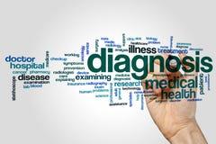 Diagnosenwort-Wolkenkonzept auf grauem Hintergrund Stockfoto