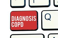 Diagnosi Copd di scrittura del testo della scrittura Ostruzione di significato di concetto del flusso d'aria del polmone che osta immagine stock libera da diritti