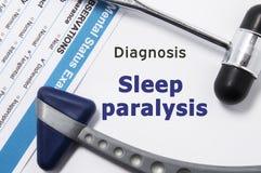 Diagnosi della paralisi di sonno Due martello neurologico, risultato dell'esame mentale di stato e nome della diagnosi psichiatri Fotografia Stock Libera da Diritti