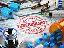 Diagnosi di tubercolosi Bollo, stetoscopio, siringa, analisi del sangue illustrazione di stock