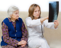 The diagnosis. Young doctor tells the diagnosis to the old woman Royalty Free Stock Photography