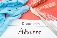 Diagnosis Abscess. Blue gloves, surgical scalpel, syringe and ampoule with medicine lie next to inscription Abscess. Causes, sympt. Oms, diagnosis, treatment Stock Photography