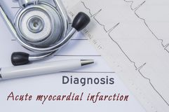 Diagnosis of Acute myocardial infarction. Stethoscope, printed electrocardiogram and pen are on paper medical form where indicated. Cardiological diagnosis royalty free stock photo