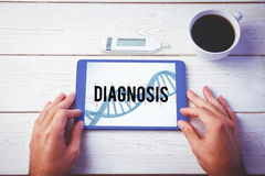 Diagnosis against blue medical background with dna and ecg. The word diagnosis and glucose monitor against blue medical background with dna and ecg stock photo