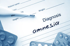 Diagnosis Amnesia  and stethoscope. Stock Image