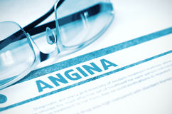 Diagnosis - Angina. Medicine Concept. 3D Illustration. Diagnosis - Angina. Medicine Concept with Blurred Text and Glasses on Blue Background. Selective Focus Stock Photos